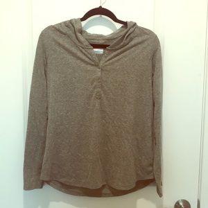 Columbia long sleeve hooded shirt- olive green